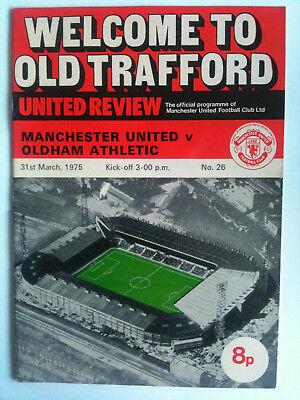 1974/75  Manchester United v Oldham Athletic 2nd Division