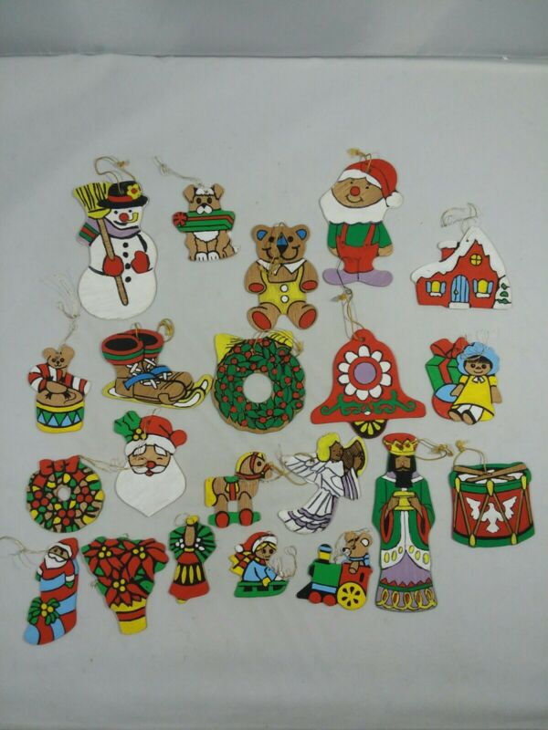 21 Vintage Flat Wood Wooden Christmas Ornaments Hand Painted