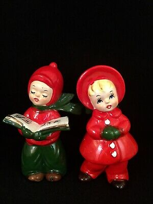 Vintage Josef Originals Figurine set LOT Girl Boy Child CHRISTMAS CAROLERS Cute! ()