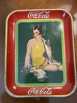 Original 1929 Coca Cola Serving Tray Advertising Sign Girl Yellow Bathing Suit