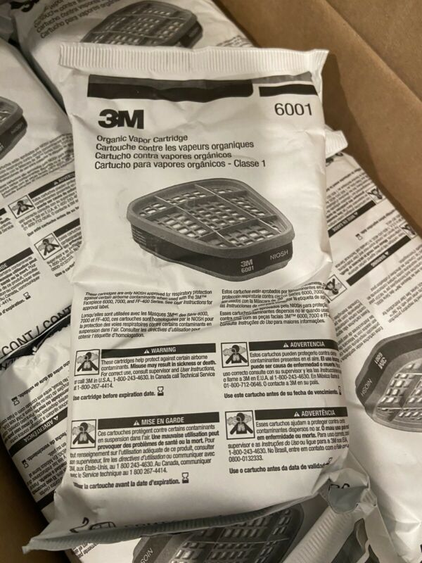 3M 6001 Organic Vapor Replacement Cartridges New