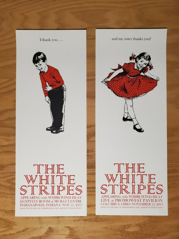 The White Stripes 2003 Indianapolis/Columbus posters matching set Rob Jones Jack