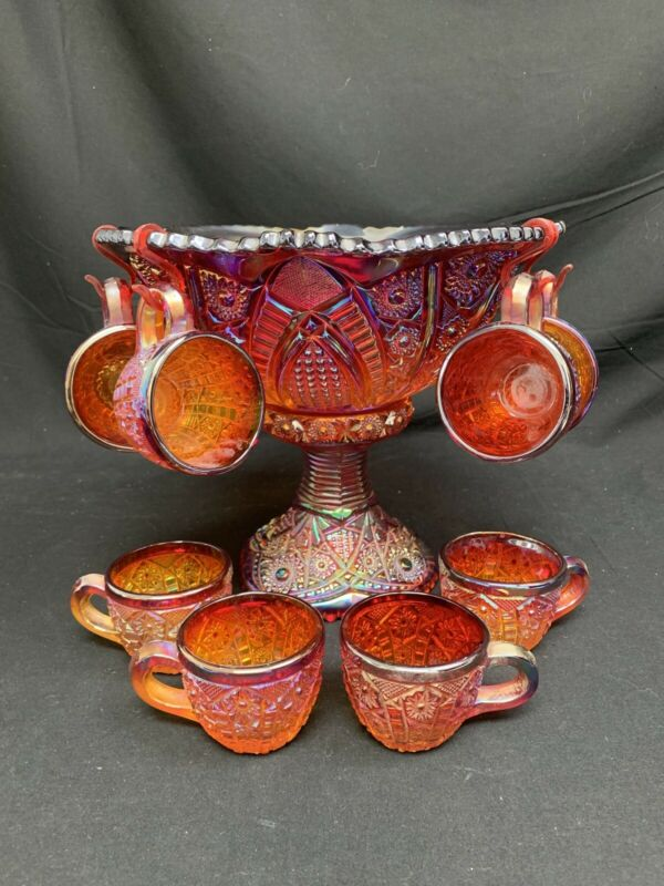 Indiana Glass Red Iridescent Heirloom Carnival Glass 10pc Punch Bowl Set