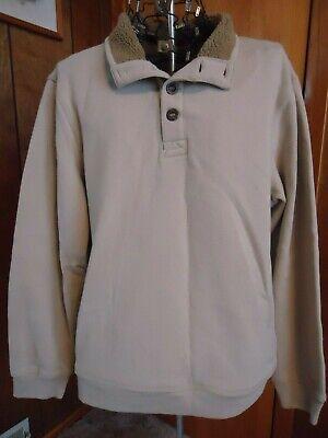 Mens XXL Arrow  Khaki Buttoned Neckline Sweatshirt
