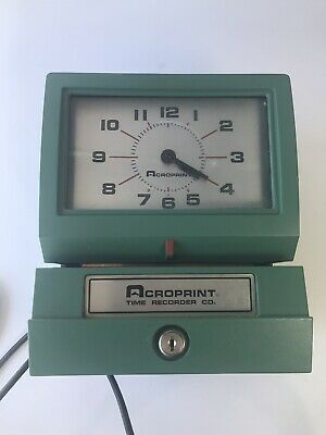 Time Clock Acroprint Time Recorder 125nr4 Industrial Two Keys Very Clean