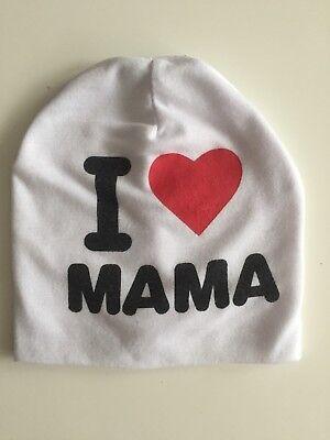 Gebraucht, Baby Mütze I Love Mama Gr.74-92 gebraucht kaufen  Rosenheim