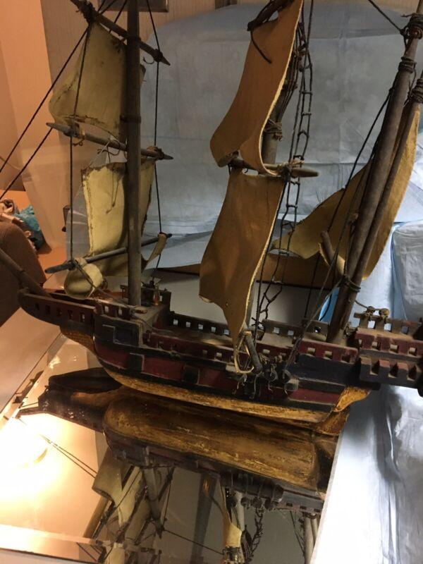 antique wooden boat model