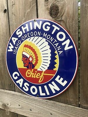 Washington Sign - Washington Chief Idaho Oregon Montana gasoline vintage round metal  sign