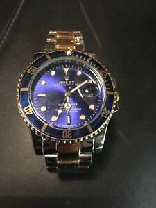 Brand New Men's Wristwatch Watch Blue and Gold Colour