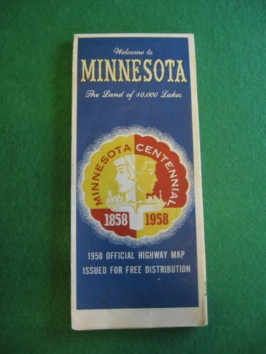 Vintage 1958 Minnesota Centennial Official Highway Road Map State of Minnesota