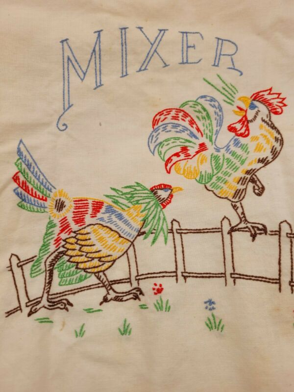 Vintage Rooster Hen Hand Embroidered Mixer Cover
