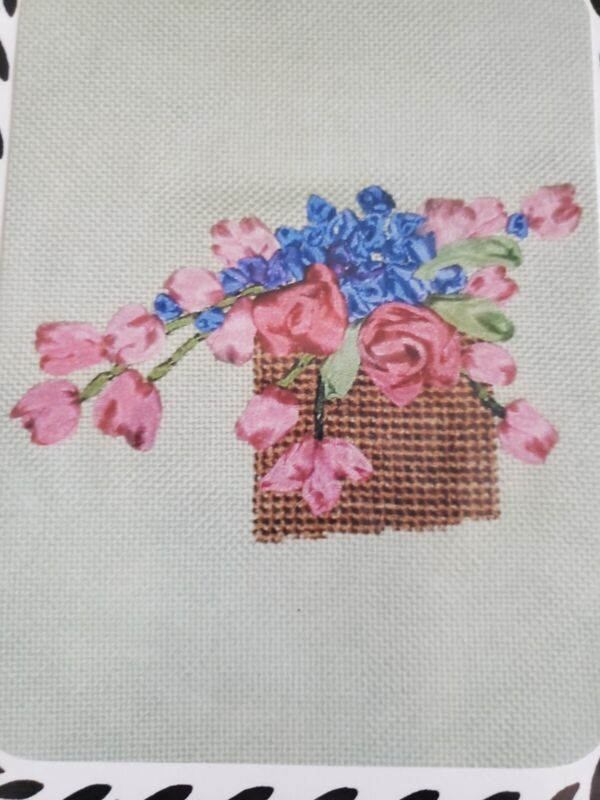 Tulips & Peonies Hand Dyed Silk Ribbon Embroidery Cross Stitch Kit