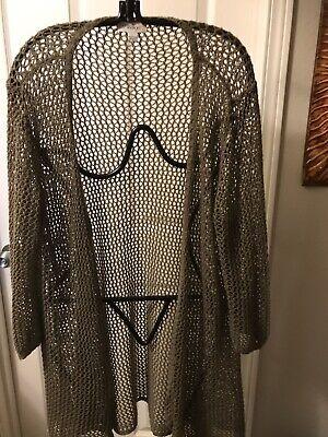 Great Northwest Indigo Crochet Sweater Size Large Olive Green Long Sleeve Open  Indigo Long Sleeve Sweater
