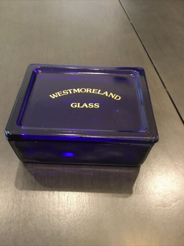 Vintage Westmoreland Cobalt Blue Glass Trinket Box Advertising C90