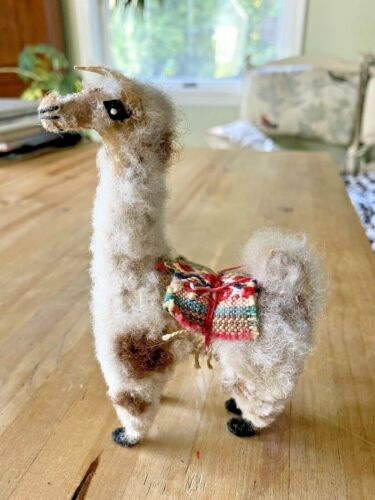 "Vintage Toy Llama or Alpaca w/real fur 3 x 5.5""  Very Cute"
