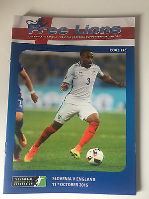 FREE LIONS SLOVENIA v ENGLAND FOOTBALL PROGRAMME 11th OCTOBER 2016 ISSUE 150