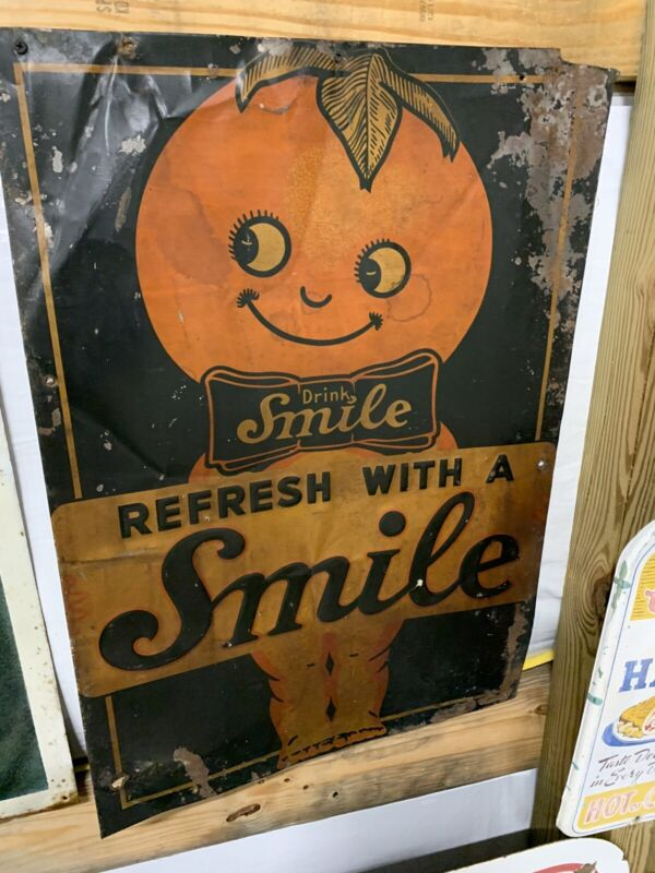 Vintage Smile Orange Drink Metal Sign COLA SODA GAS OIL RARE