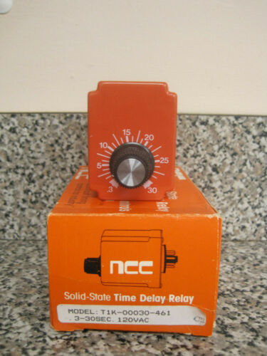 New NCC T1K-00030-461 .3-30 Sec 120V Solid State Timer Time Delay Relay