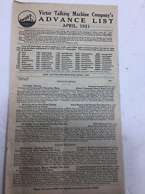 Vintage April 1921- Victor Talking Machine Advance Order List! Rare!