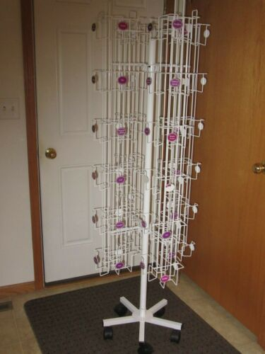 Rotating Revolving Metal Card Display Rack with Casters