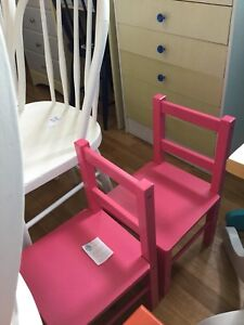 2 pink kids chairs-