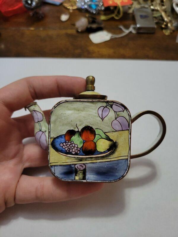 Vintage Kelvin Chen Enamel Miniature Teapot