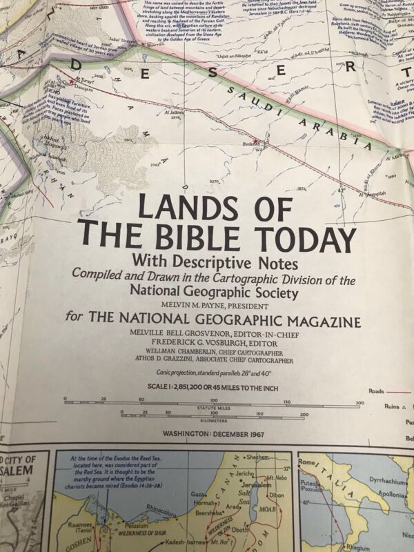 LANDS OF THE BIBLE TODAY NACIONAL GEOGRAPHIC SOCIETY VINTAGE MAP