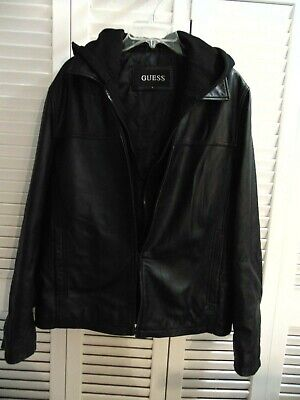 Men's Black GUESS 100% Leather Jacket with Hoodie and Inner Lining Size LARGE