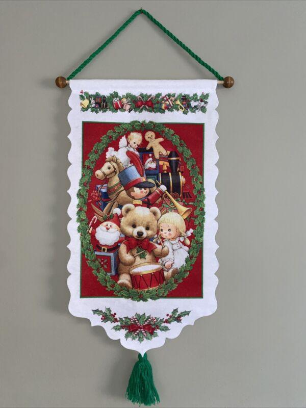"""Vintage Ruth Morehead Christmas Felt Banner Christmas Toys Felt Yarn 26"""""""