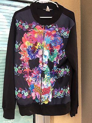 Kayden K Sublimation Floral Skull Printed 100% Polyester Track Jacket Size M Skull Track Jacket