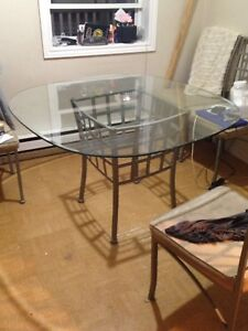 Heavy steal and glass dinning room table