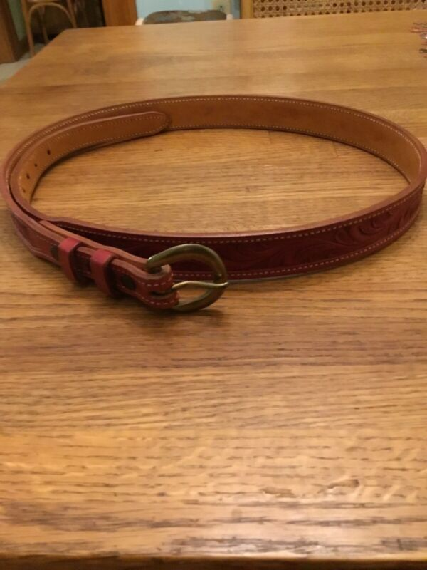 Bob Dellis Red Tooled Leather Floral Belt W/ Brass Buckle Sz 36