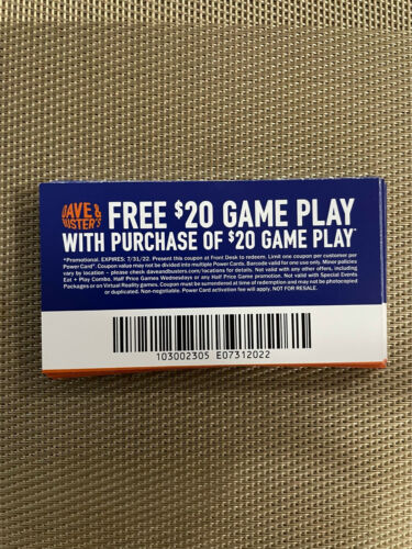 14 Dave and Busters D&B $20 gameplay with same purchase powercard EXP 7/31/2022