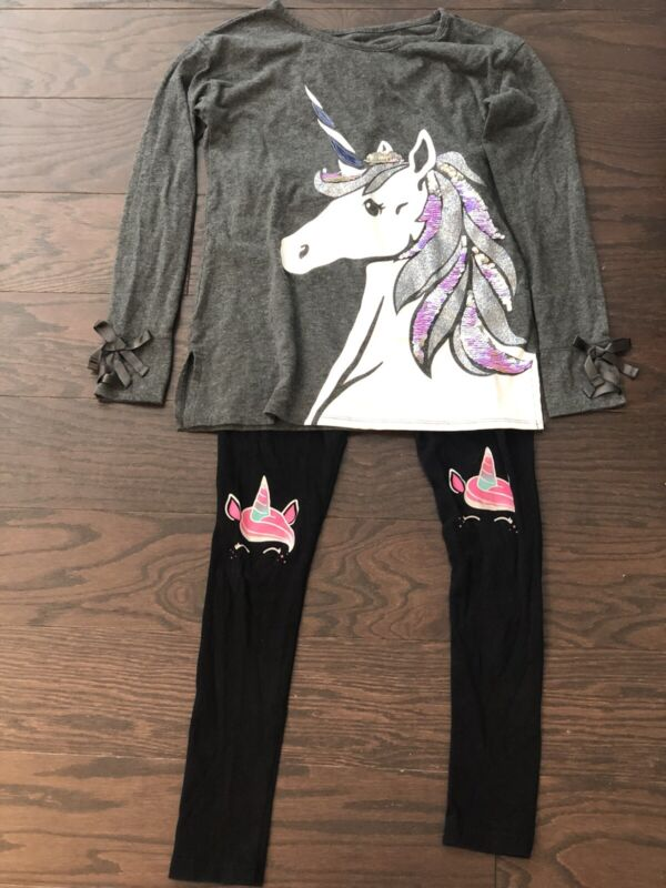 Justice Unicorn Shirt And Leggings Outfit Girls Size 10