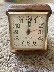 Vintage Working Westclox Wind up Travel Alarm Clock Folding