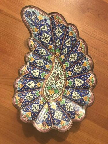 Chinese vintage cloisonne enamel scallop type plate