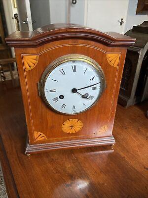 Antique English Edwardian 8 Day Inlaid Striking Mantel Clock c1910