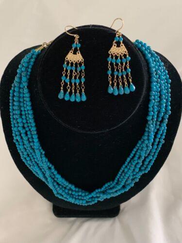EARRINGS NECKLACE BLUE STONE BEADS FROM INDIA W/ ORNATE BRASS CHANDELIER EARRIN