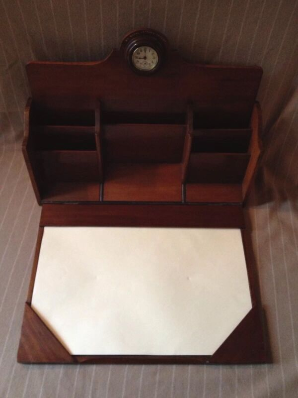 ANTIQUE ENGLISH ROYAL MAIL TRAVEL DESK WITH CLOCK ENGLAND MAHOGANY BEAUTIFUL OLD