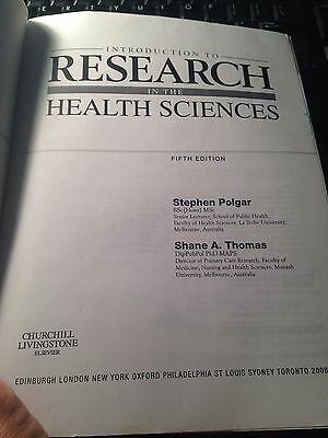 Introduction to Research in the Health Sciences by Polgar and Shane (Introduction To Research In The Health Sciences Polgar)