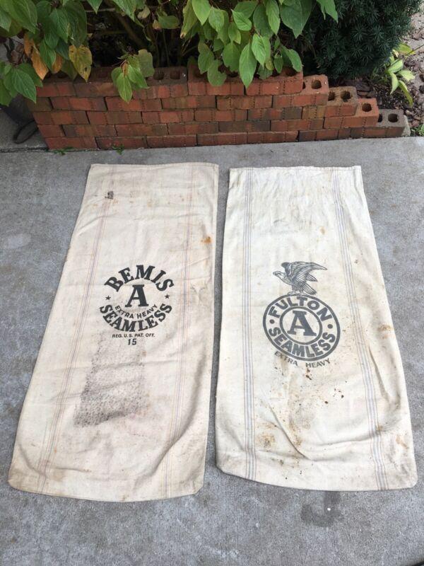 2 Vintage Canvas Feed Grain Malt Sack Bemis Fulton Seamless Heavy Bag Stripes