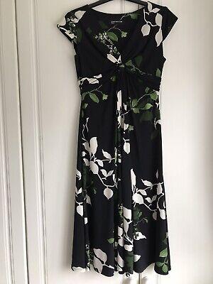 JONES NEW YORK Size 8/10 - Gorgeous Black/Green/White Floral Jersey Dress VGC