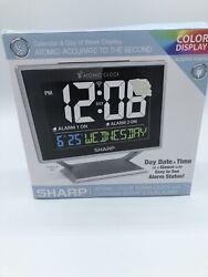 Sharp Atomic Color Digital Alarm Clock with Calendar Display and Dual Alarm