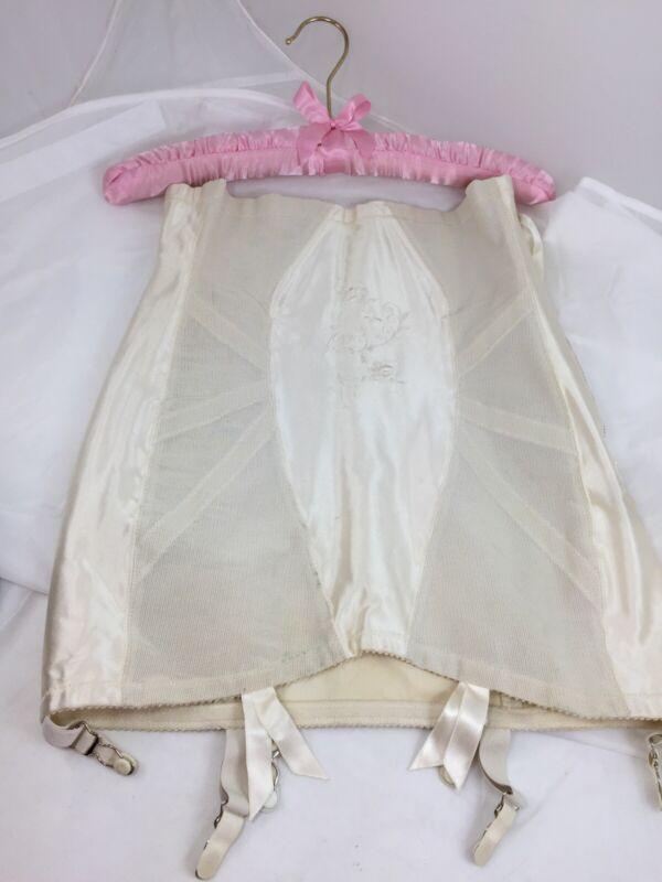 Vintage Promise Poirette Open Bottom Girdle Garter Boned Zipper Size 31 NOS New!