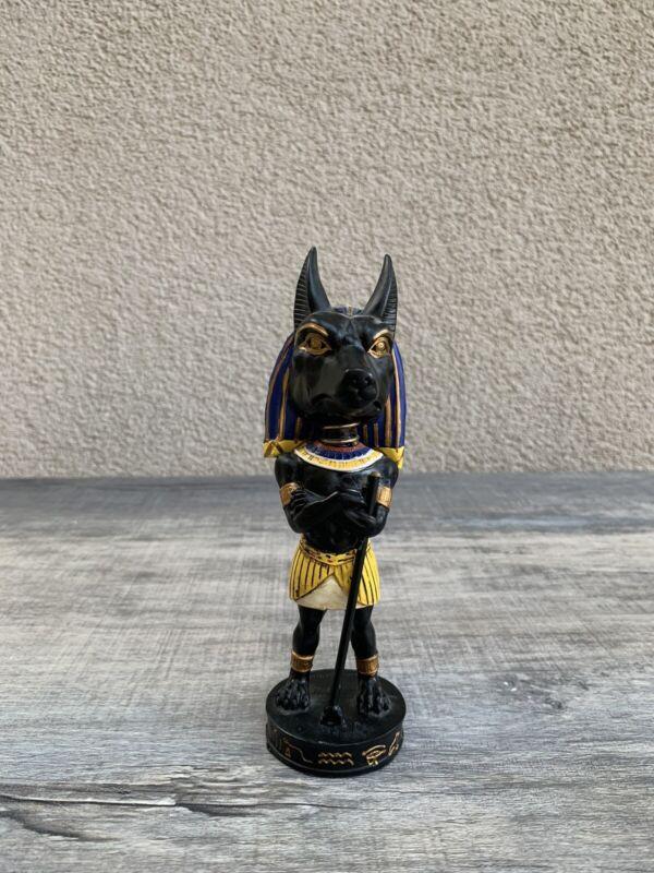Egyptian Deity God Of Mummification Anubis Jackal Dog Bobblehead Figurine Used