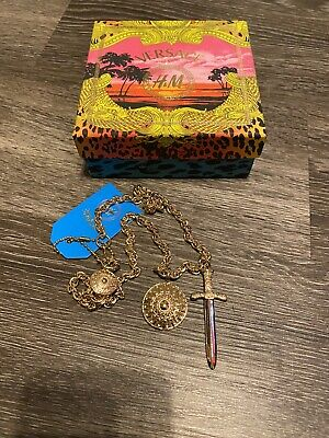 Versace x H&M Gold Chain Collaboration Necklace Pendant Sword and Shield Rare HM