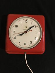 """Vintage General Electric Wall Clock, """"Kitchen Clock"""", Works, Red Metal Cover"""