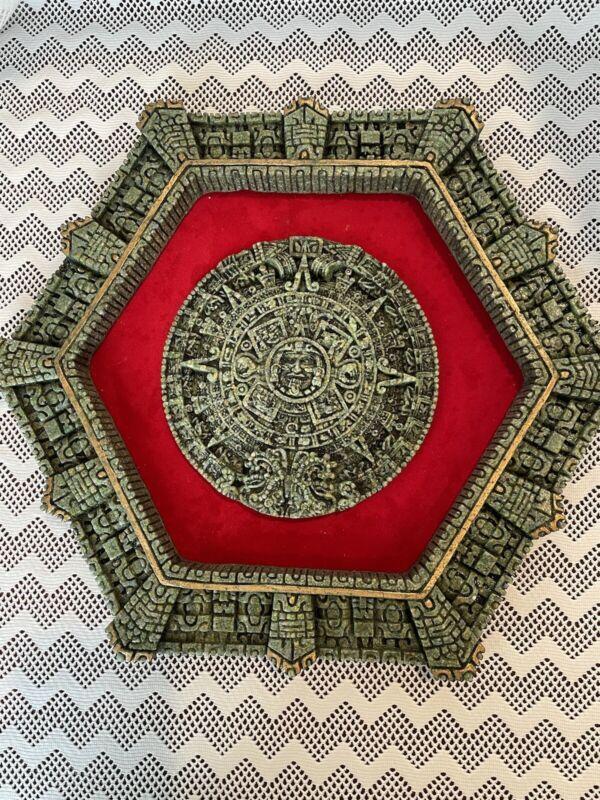 Vintage Mayan Aztec Sun Calendar Crushed Malachite