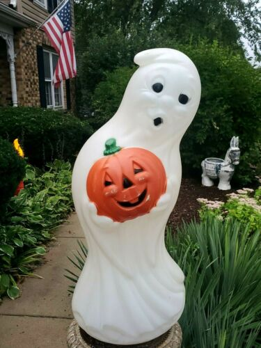 """VINTAGE HALLOWEEN BLOW MOLD GHOST AND PUMPKIN LIGHTED PLASTIC 33"""""""