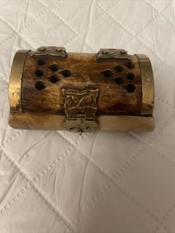 Small Vintage Bone & Brass Trinket  / Jewelry Box